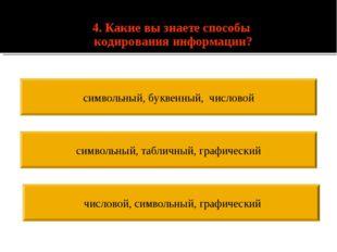 4. Какие вы знаете способы кодирования информации? числовой, символьный, гра