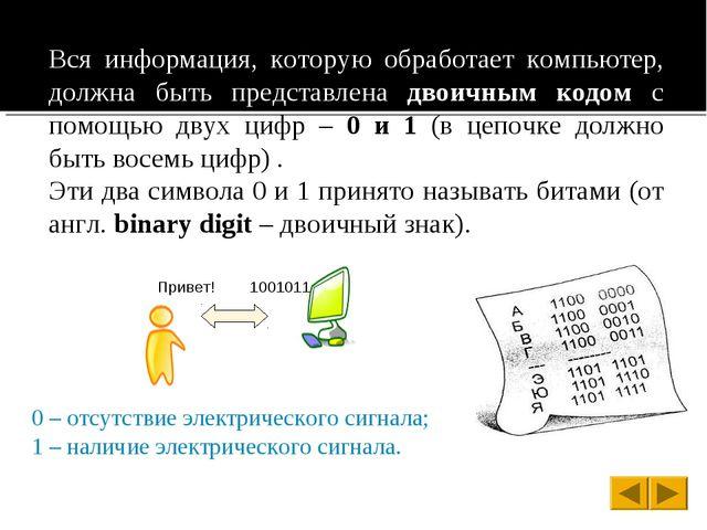 Вся информация, которую обработает компьютер, должна быть представлена двоичн...