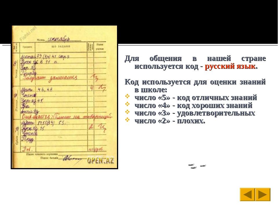 Для общения в нашей стране используется код - русский язык. Код используется...