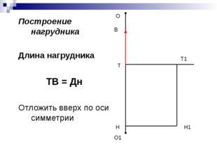 Построение нагрудника Длина нагрудника ТВ = Дн Отложить вверх по оси симметри