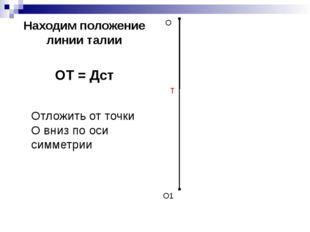 Находим положение линии талии ОТ = Дст О О1 Т Отложить от точки О вниз по оси