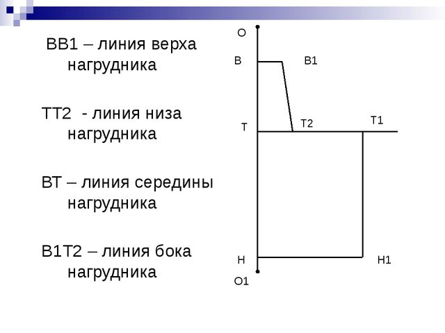 ВВ1 – линия верха нагрудника ТТ2 - линия низа нагрудника ВТ – линия середины...