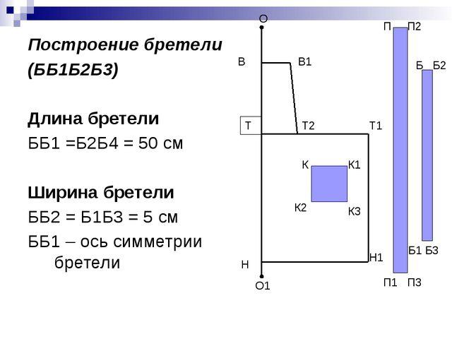 Построение бретели (ББ1Б2Б3) Длина бретели ББ1 =Б2Б4 = 50 см Ширина бретели Б...