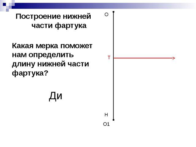 Построение нижней части фартука О О1 Т Н Какая мерка поможет нам определить д...