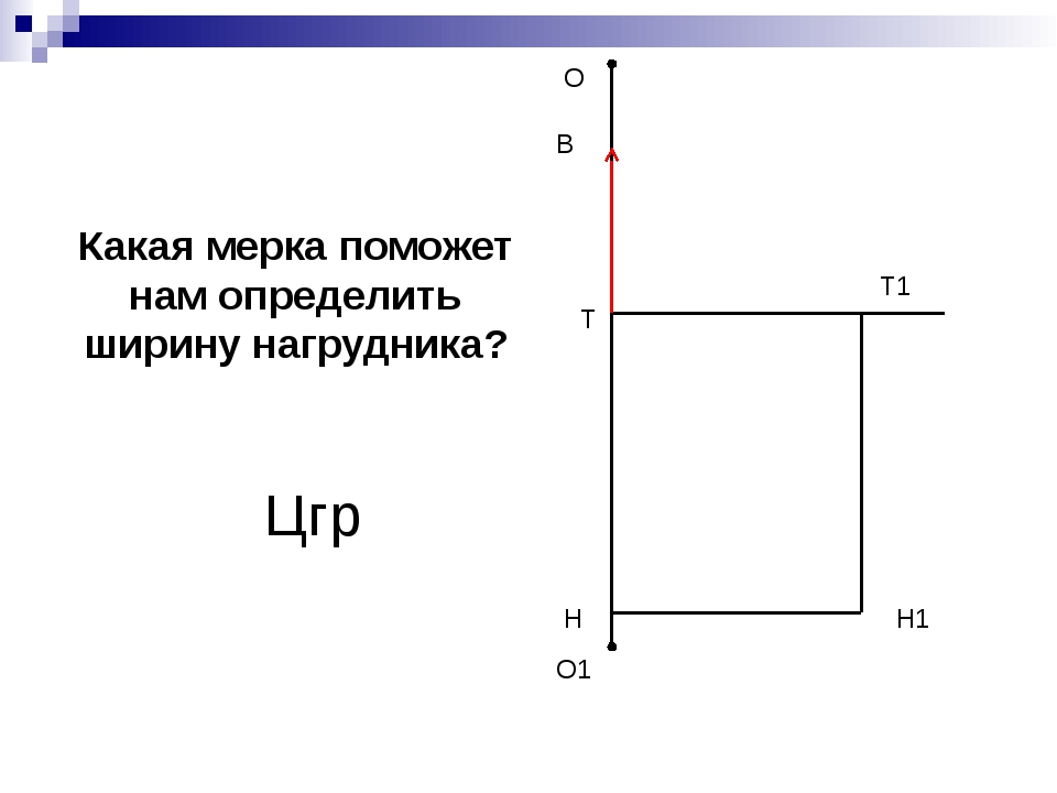 О О1 Н Т1 Н1 В Т Какая мерка поможет нам определить ширину нагрудника? Цгр