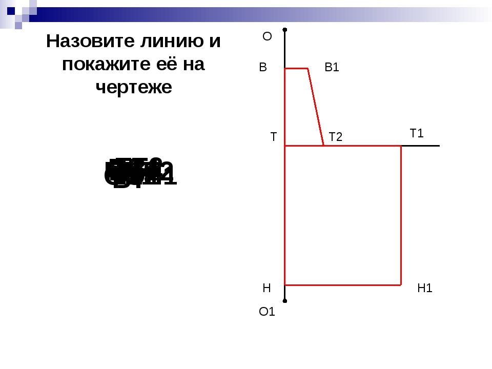 О О1 Н Т1 Н1 В Т2 В1 Т В1Т2 ОО1 ТТ1 ТН Т1Н1 НН1 ВВ1 ТТ2 ВТ Назовите линию и п...