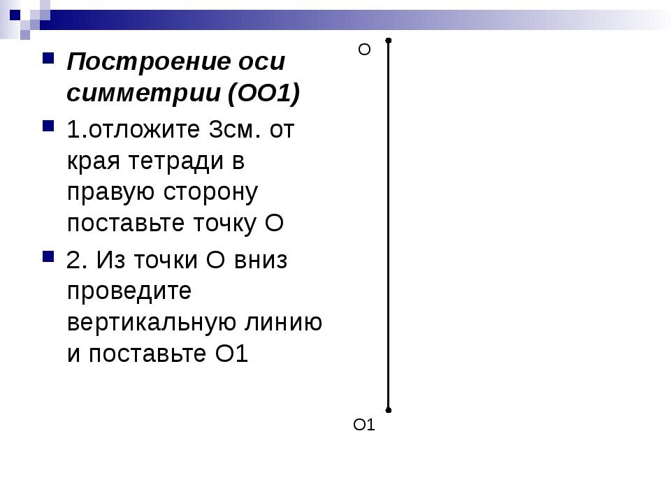 Построение оси симметрии (ОО1) 1.отложите 3см. от края тетради в правую сторо...