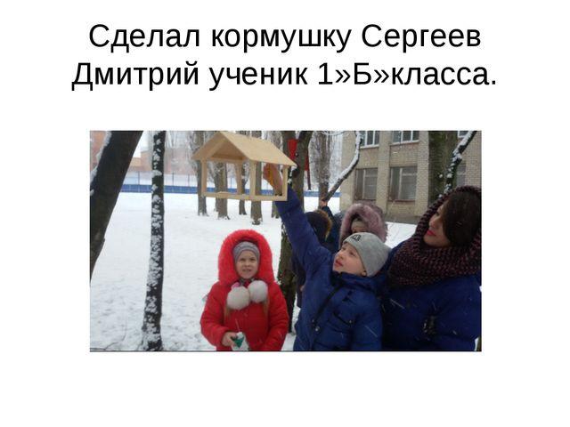 Сделал кормушку Сергеев Дмитрий ученик 1»Б»класса.