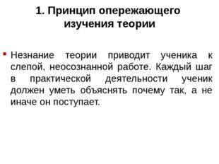 1. Принцип опережающего изучения теории Незнание теории приводит ученика к сл