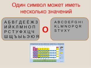 Один символ может иметь несколько значений А Б В Г Д Е Ё Ж З И Й К Л М Н О П