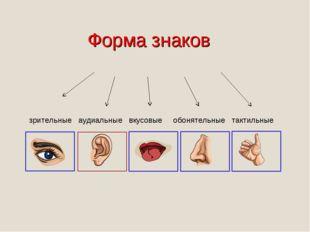 Форма знаков зрительные аудиальные вкусовые обонятельные тактильные