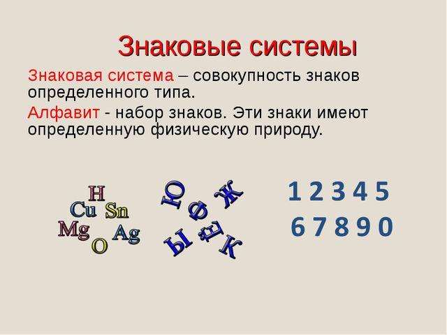 Знаковые системы Знаковая система – совокупность знаков определенного типа. А...