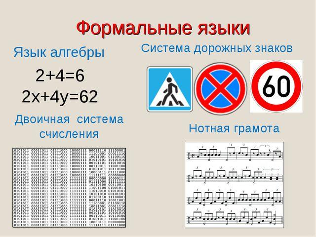Формальные языки Язык алгебры Двоичная система счисления 2+4=6 2x+4y=62 Систе...