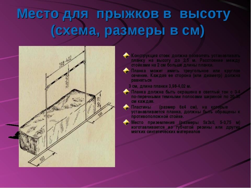 Место для прыжков в высоту (схема, размеры в см) Конструкция стоек должна поз...