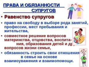 Равенство супругов право на свободу в выборе рода занятий, профессии, мест пр