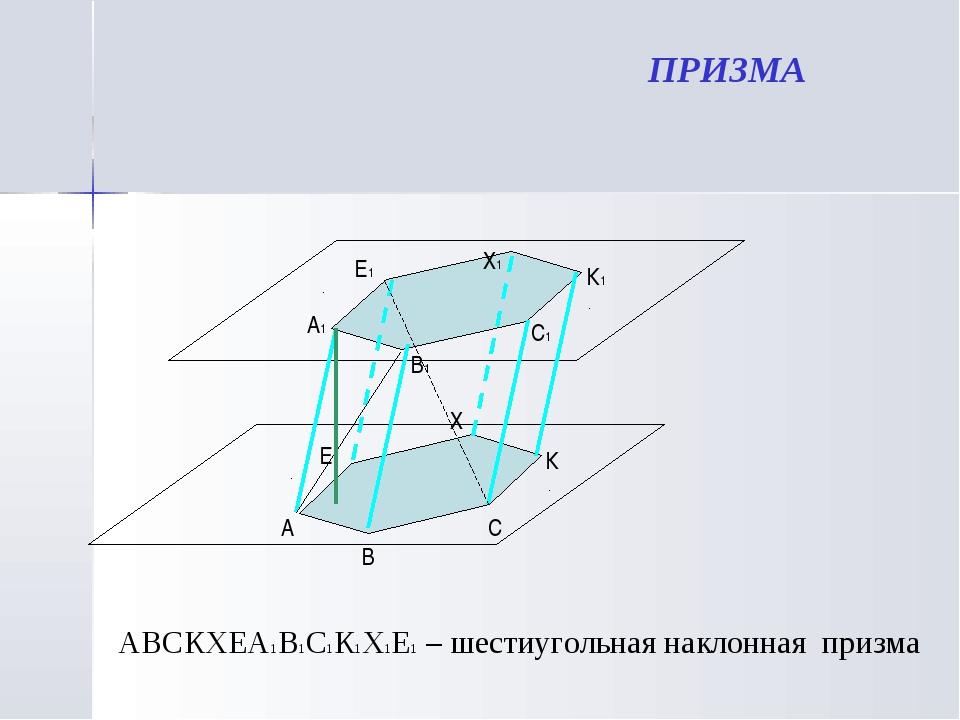 ПРИЗМА А В С К Х Е АВСКХЕА1В1С1К1Х1Е1 – шестиугольная наклонная призма D А1 В...