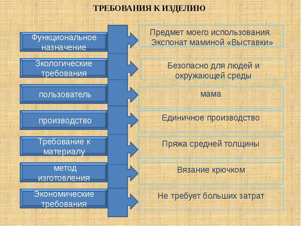 ТРЕБОВАНИЯ К ИЗДЕЛИЮ Функциональное назначение Зкологические требования Эконо...