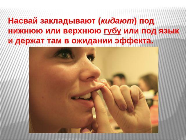Насвай закладывают (кидают) под нижнюю или верхнююгубуили под язык и держат...