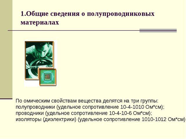 1.Общие сведения о полупроводниковых материалах По омическим свойствам вещест...