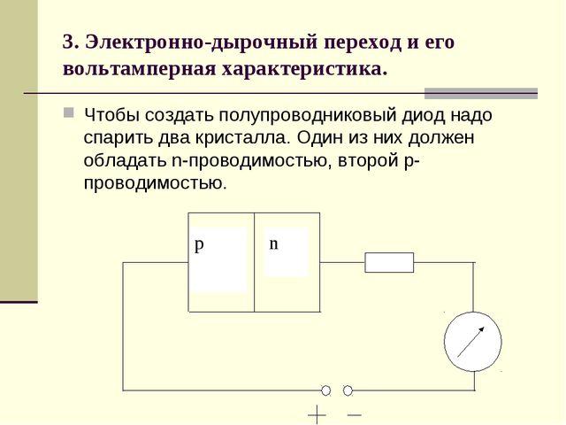 3. Электронно-дырочный переход и его вольтамперная характеристика. Чтобы созд...