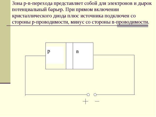 Зона p-n-перехода представляет собой для электронов и дырок потенциальный бар...