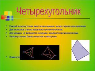Каждый четырехугольник имеет четыре вершины, четыре стороны и две диагонали.