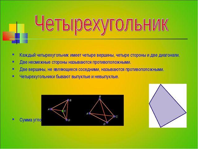 Каждый четырехугольник имеет четыре вершины, четыре стороны и две диагонали....