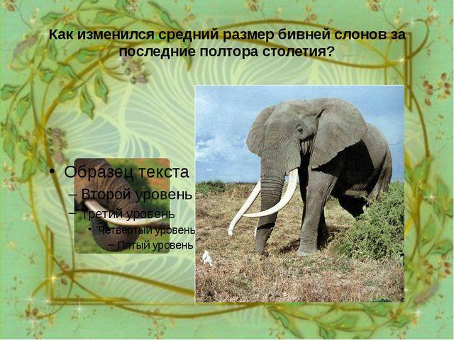Как изменился средний размер бивней слонов за последние полтора столетия? За...