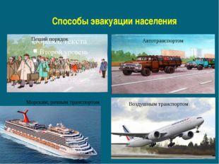 Способы эвакуации населения Пеший порядок Автотранспортом Морским, речным тра