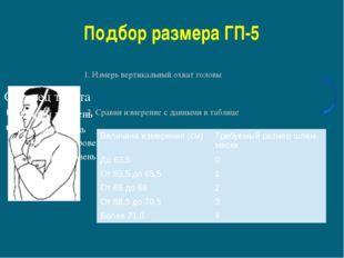 Подбор размера ГП-5 1. Измерь вертикальный охват головы 2. Сравни измерение с