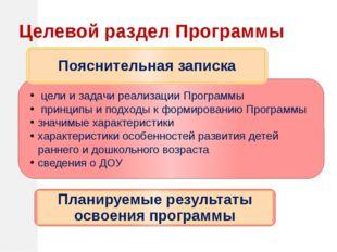 Целевой раздел Программы цели и задачи реализации Программы принципы и подхо