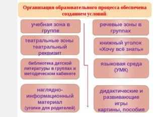 Организация образовательного процесса обеспечена созданием условий: речевые з