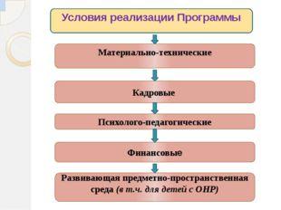 Условия реализации Программы Материально-технические Кадровые Психолого-педаг