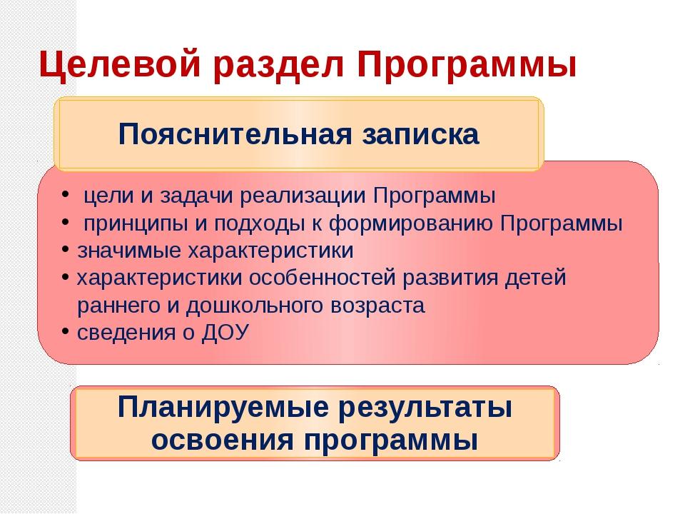 Целевой раздел Программы цели и задачи реализации Программы принципы и подхо...