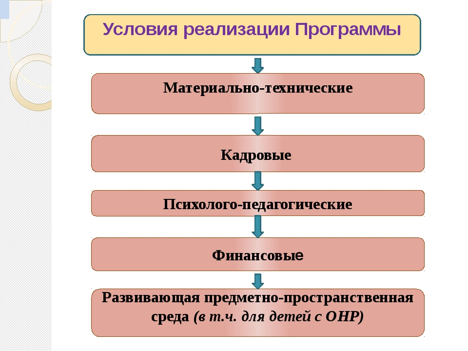 Условия реализации Программы Материально-технические Кадровые Психолого-педаг...