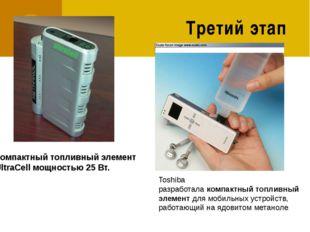 Третий этап Компактныйтопливныйэлемент UltraCell мощностью 25 Вт. Toshiba