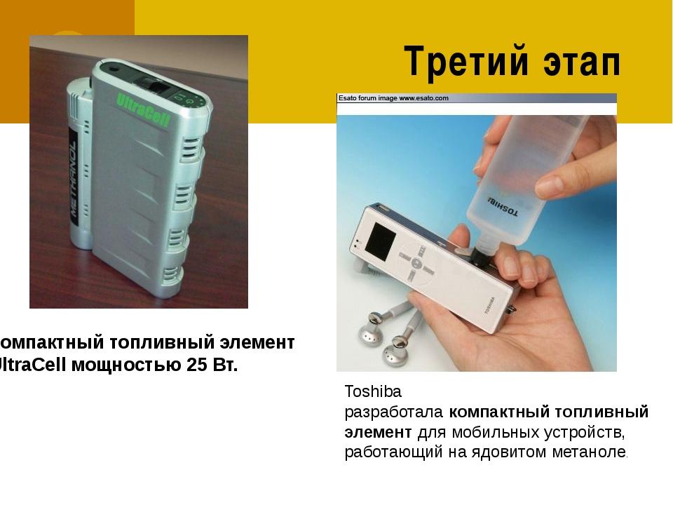 Третий этап Компактныйтопливныйэлемент UltraCell мощностью 25 Вт. Toshiba...