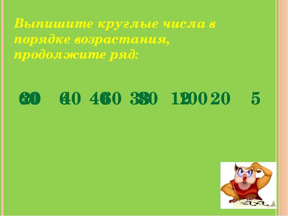 Выпишите круглые числа в порядке возрастания, продолжите ряд: 60 6 40 33 12 2...