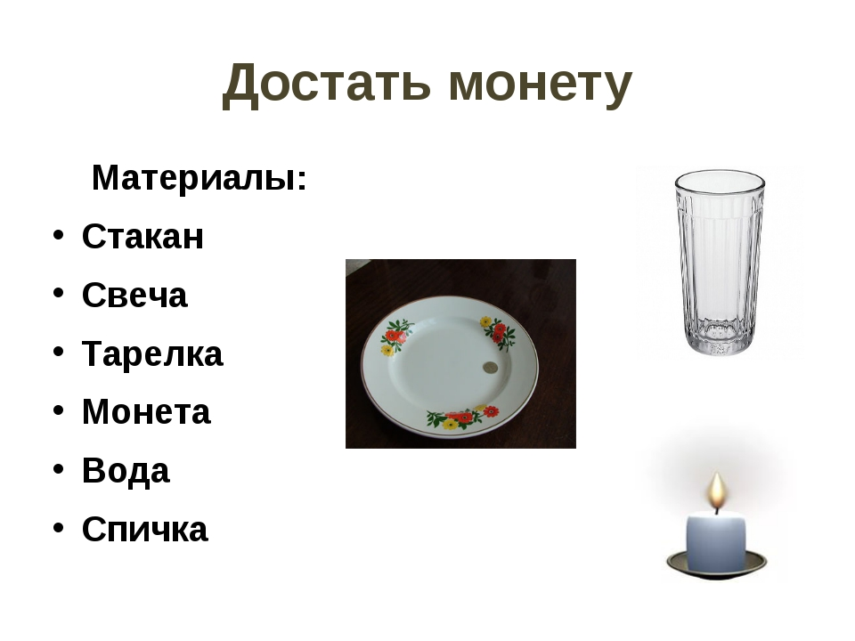 Достать монету Материалы: Стакан Свеча Тарелка Монета Вода Спичка