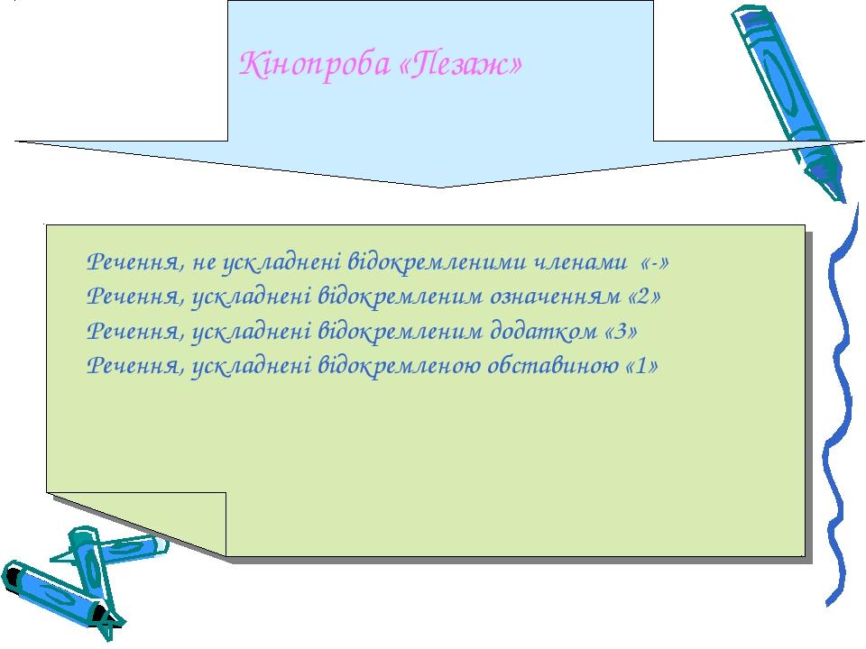 Кінопроба «Пезаж» Речення, не ускладнені відокремленими членами «-» Речення,...