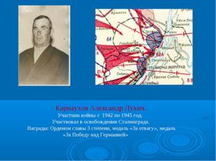 Карнаухов Александр Лукич. Участник войны с 1942 по 1945 год. Участвовал в ос