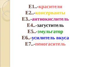 Е1..-красители Е2..-консерванты Е3..-антиокислитель Е4..-загуститель Е5..-эму