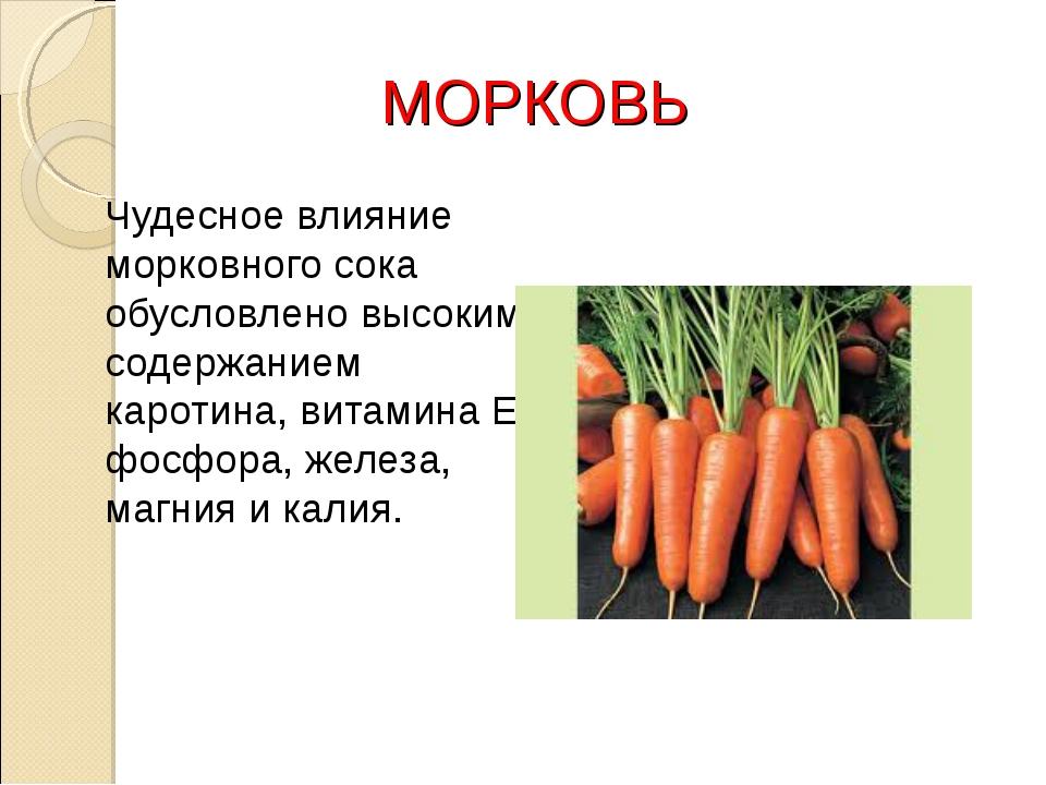 МОРКОВЬ Чудесное влияние морковного сока обусловлено высоким содержанием кар...