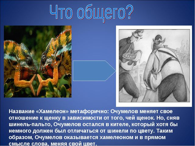 Название «Хамелеон» метафорично: Очумелов меняет свое отношение к щенку в зав...