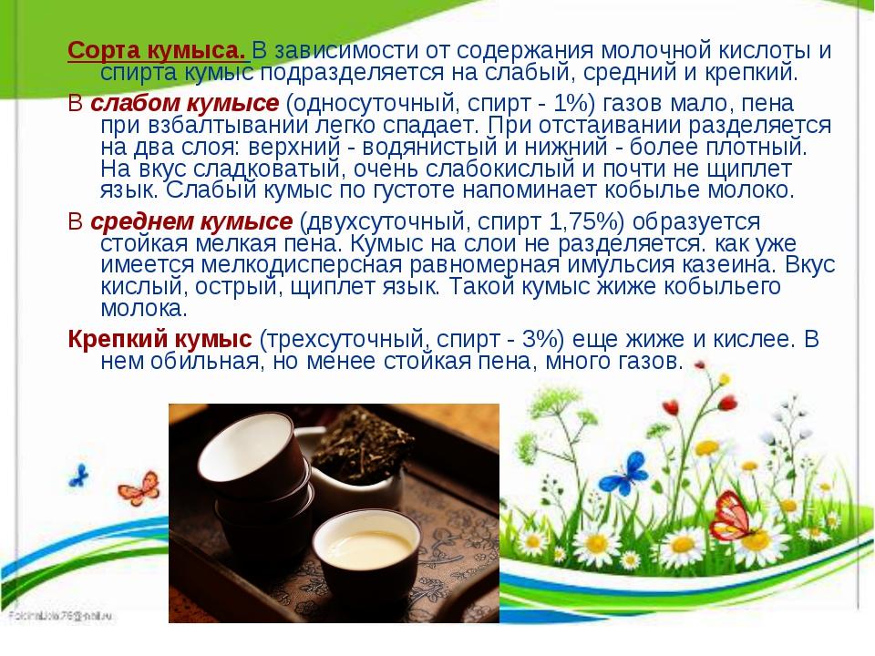 Сорта кумыса. В зависимости от содержания молочной кислоты и спирта кумыс под...