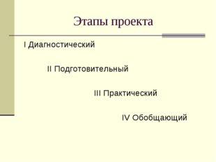Этапы проекта I Диагностический II Подготовительный III Практический IV Обобщ