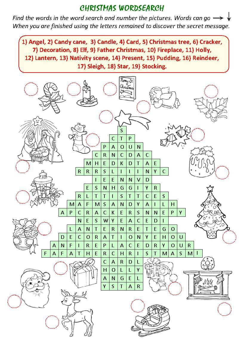 Christmas WordSearch. Рождество: Игра Найди слово (на английском).