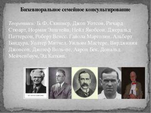 Теоретики: Б. Ф. Скиннер, Джон Уотсон, Ричард Стюарт, Норман Эпштейн, Нейл Як