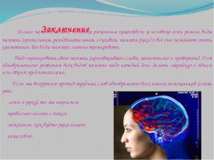 Заключение Только память делает человека разумным существом; у человека есть