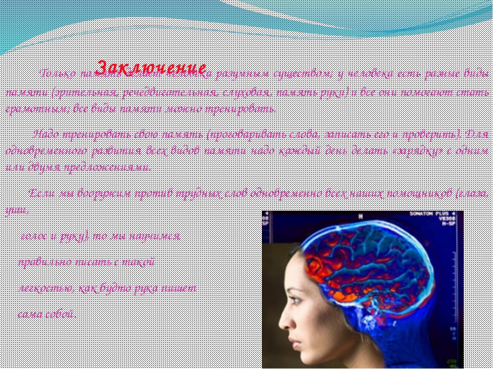 Заключение Только память делает человека разумным существом; у человека есть...